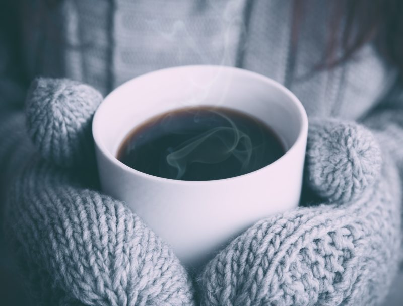 coffee and mittens